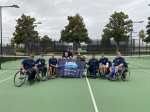 Southern California Wheelchair Tennis Players with trophy after winning North/South Challenge